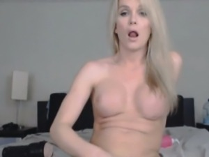 Gorgeous Blonde Tranny Plays with her Toys
