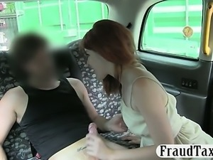 Cute amateur redhead passenger pussy stuffed in the cab