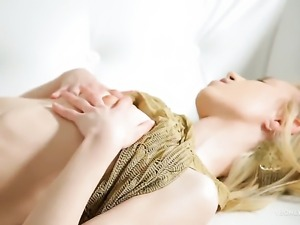 Erica with small boobs and shaved beaver spreads her legs to fuck herself...