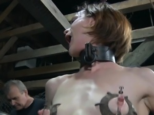 Mouth gagged slut handling machine fuck