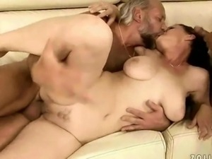 Two grandpas fucking and pissing on busty girl