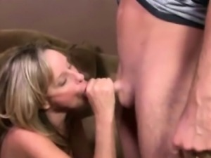 Blonde milfs suck hard cock together