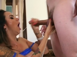 nadia coughs up spit as she is throated