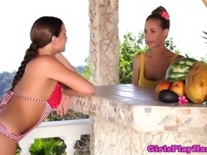 Dreamy bikini goddesses eating beaver and playing with food outdoor