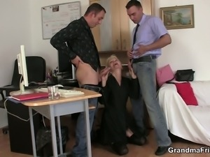 Granny banged by two young studs at interview