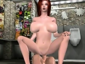 Busty 3D cartoon redhead gets fucked in a bathroom
