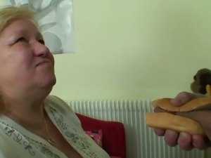 Busty Granny munching that hard cock sandwich