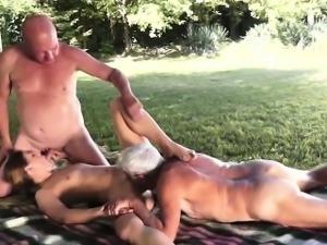 Tamia fucks two real old guys