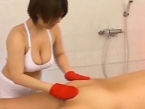 Subtitled busty Japanese massage therapist new to job