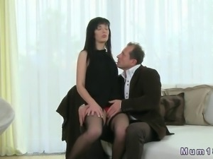 Small tits brunette in sexy stockings fucking