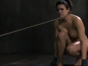 Frogtied bonded slut being humiliated