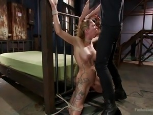 blonde slut roughly filled with cock