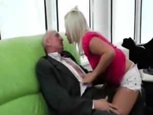 horny chick fucked hard by an old guy