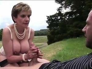 Lady Sonia swallows cum after outdoor fuck