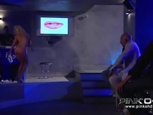 blonde slut fucks him in the bar