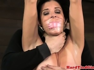 Taped up petite sub punished harshly