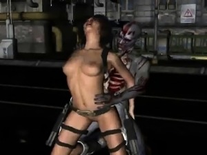 Sexy 3D brunette honey getting fucked by a zombie