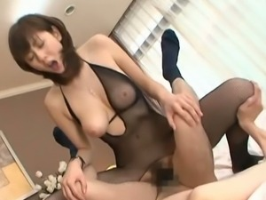 Yuma Asami takes cock dressed in sexy bodystocking