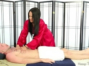 elegant beauty sucks his cock at the massage parlor