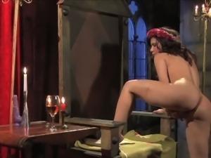Perverted busty brunette Aleksa solo