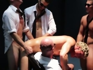 Blonde hunk ass fucked by muscled studs