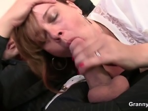 Drunk mature gets banged hard by a young stud