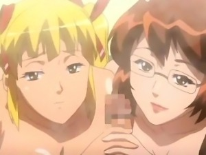 Busty anime lesbians rubbing and sharing dick