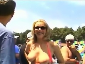Blonde Woman Flashing In Public