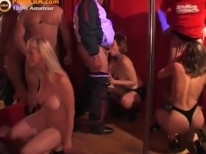 Amateur gangbang party in swinger club