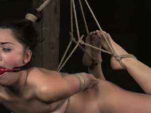 Hogtied bdsm sub Kristina Rose ball gag
