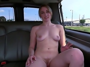 Naked amateur Riley Reynolds with natural boobies and trimmed bush shows her...