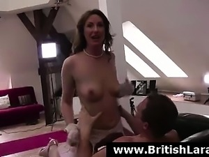 Mature British lady in stockings has her shaved pussy fucked