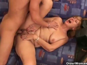Naughty mature sluts get banged by young studs