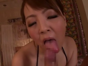 Hitomi Tanaka uses her mega tits to rub cock POV