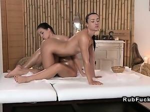 Shaved cunt babe gets lesbian massage