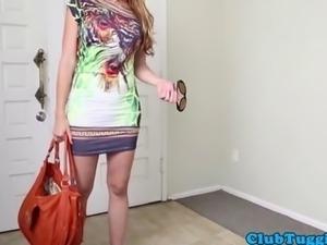 Busty tugging housewife topless in pov fun
