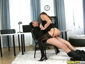 Brunette Sensual Jane gets down on her knees to give deep blowjob to James...