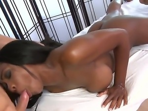 Dark skinned naked beauty Persia Black shows off her wonderful bubble butt...