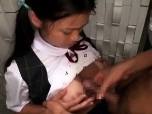 Busty tanlined japanese schoolgirl facefucked