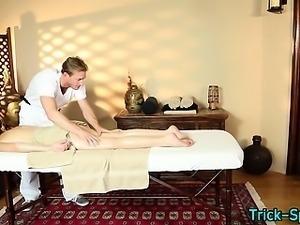 Small tit babe massaged