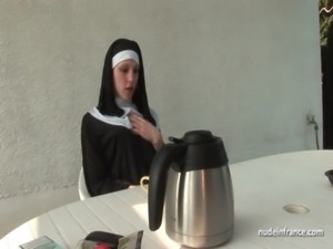 Young french nun fucked hard in threesome with Papy Voyeur free