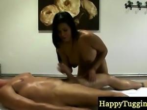 Oriental handjob busty masseuse sucking client
