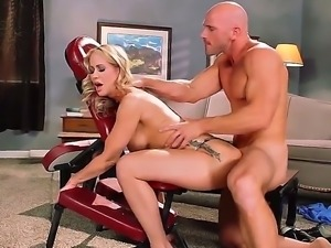 Hot bodied blonde MILF Simone Sonay with nice big hooters screams like crazy...