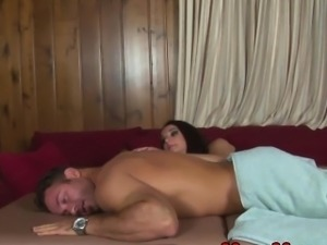 Femdom CBT masseuse squeezes cock harsh