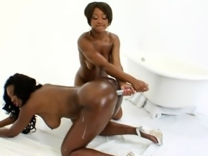 Ebony babes squirt milk from big butts