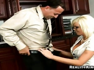 Blonde Jordan Jolie with big tits and smooth muff and hard dicked dude Sergio...