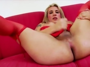Busty tits Tgirl Morgana plays her dick