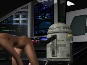 3D Princess Leia getting her pussy toyed by R2D2