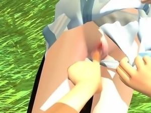 Sexy 3D anime cutie gets nailed outside