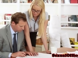 Office secretary fucking her boss close up